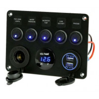 Voltímetro multifunciones 12V con puertos USB y interruptores basculantes
