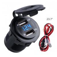 Voltímetro con puertos USB 12V